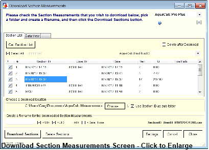 Download Section Measurements Screen - Click to Enlarge